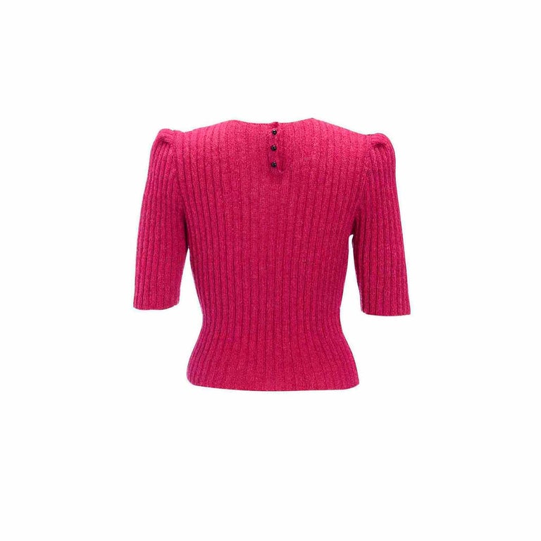 Red 1950s Vintage Hand Knitted Puff Sleeve Knitted Bow Effect Sweater Jumper For Sale