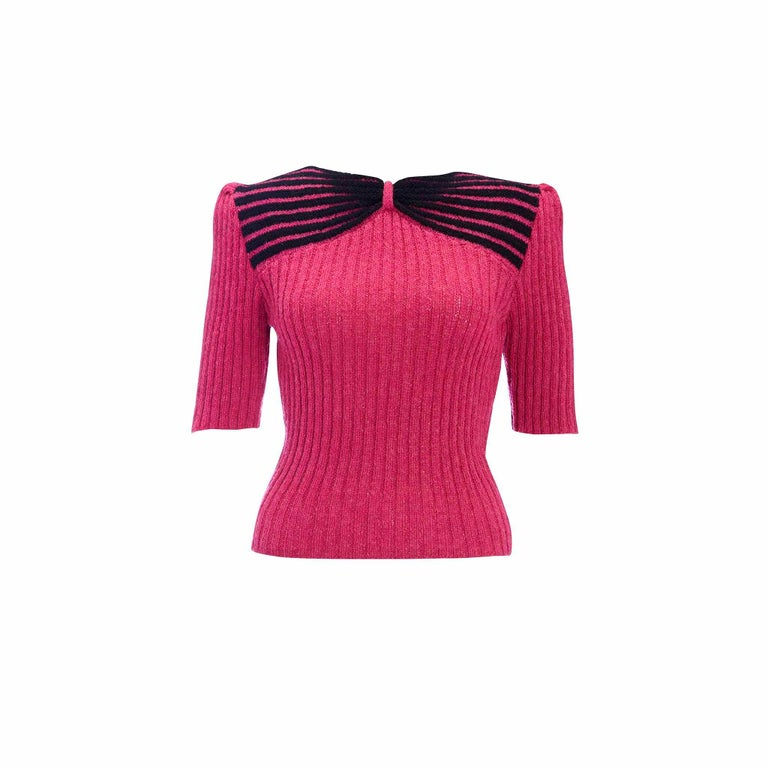 1950s Vintage Hand Knitted Puff Sleeve Knitted Bow Effect Sweater Jumper For Sale 1