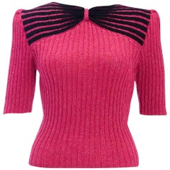 1950s Vintage Hand Knitted Puff Sleeve Knitted Bow Effect Sweater Jumper