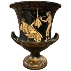 1950s Vintage Handcrafted Black and Gold Terracotta Greek Crater Vase