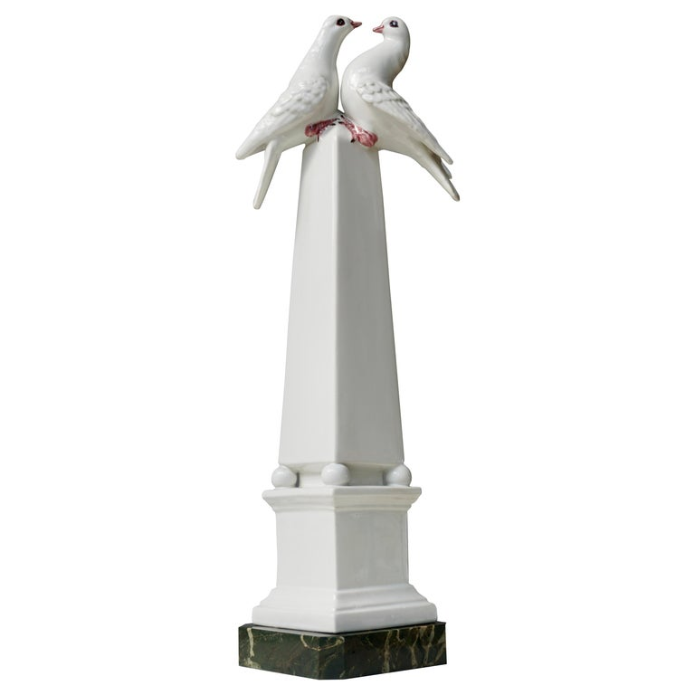 1950s Vintage Italian Neoclassical Porcelain Obelisk For Sale