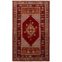 1950s Vintage Kirsehir Red Pink and Gold Geometric Midcentury Persian Rug