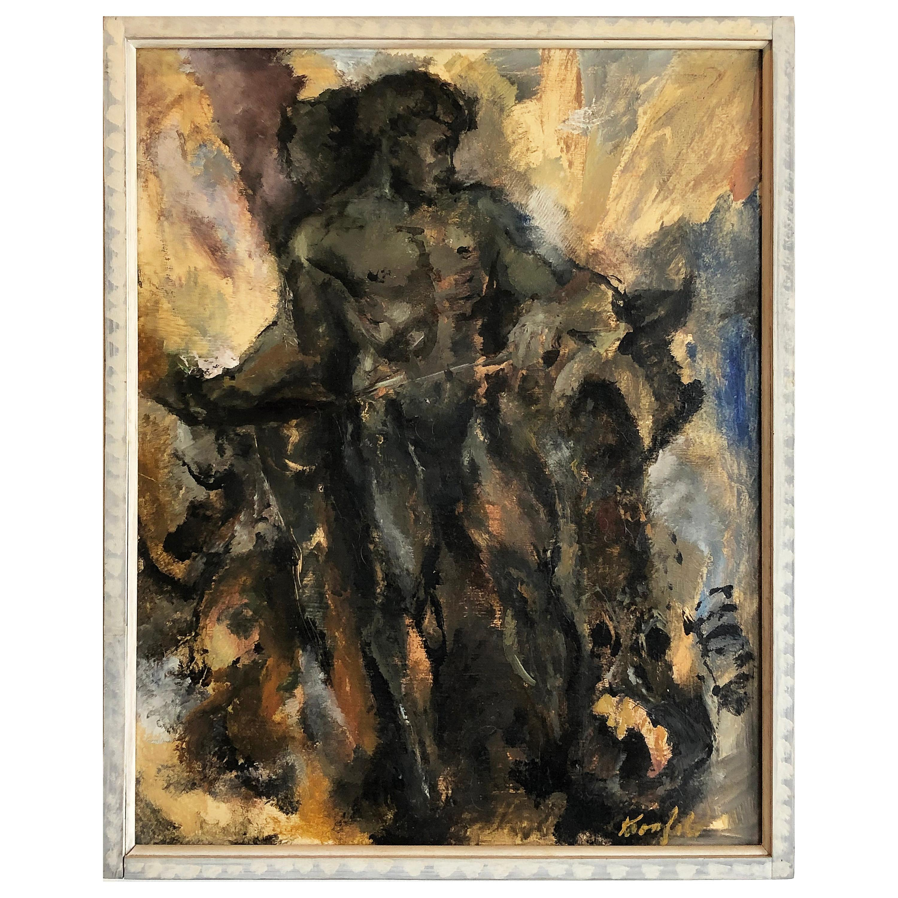 1950s Vintage Male Nude Study Oil Painting, Signed