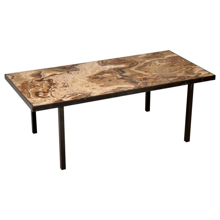 1950s Vintage Marble and Brass Coffee Table For Sale