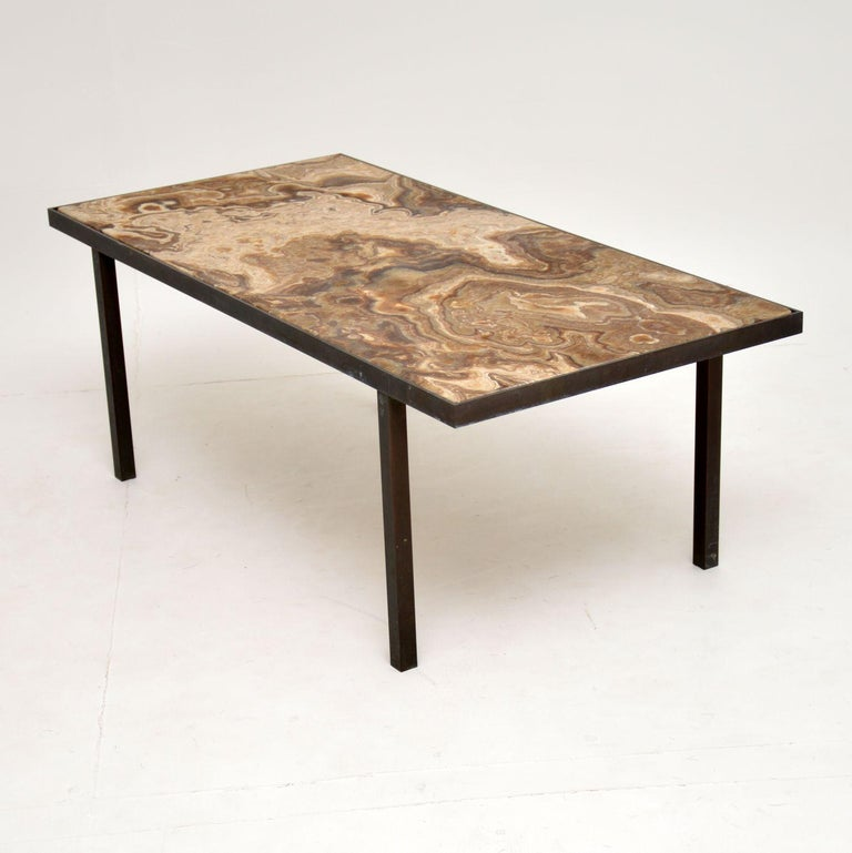 20th Century 1950s Vintage Marble and Brass Coffee Table For Sale