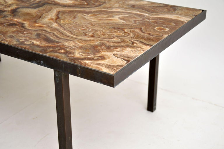 1950s Vintage Marble and Brass Coffee Table For Sale 2
