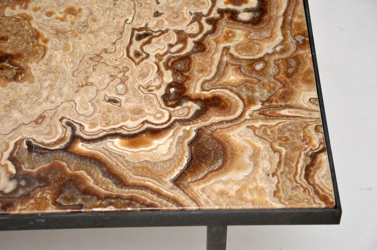 1950s Vintage Marble and Brass Coffee Table For Sale 3