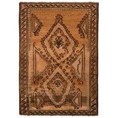 1950s Vintage Midcentury Baluch Rug Beige Brown Persian Tribal Rug