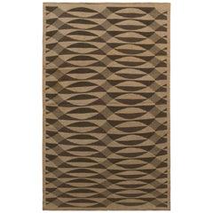 1950s Vintage Midcentury Flat-Weave Beige Brown Green Geometric Kilim