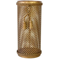1950s Vintage Midcentury Italian Hollywood Regency Gold Gilded Umbrella Stand