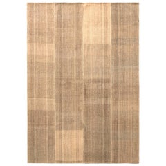 1950s Vintage Midcentury Kilim Beige Brown Striped Pattern