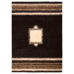 1950s Vintage Midcentury Kilim Black and Beige Brown Medallion Pattern