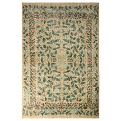 1950s Vintage Mid-Century Modern Rug Green Beige French Country All-Over Floral