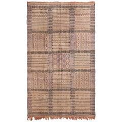 1950s Vintage Midcentury Moroccan Kilim Beige-Brown Purple Reversible Flat-Weave