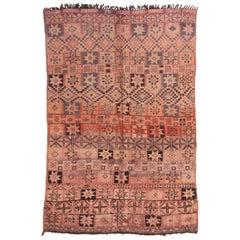 1950s Vintage Midcentury Moroccan Rug Beige Pink Tribal Geometric Pattern