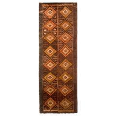 1950s Vintage Midcentury Rug Orange Brown Diamond Pattern High Pile Runner
