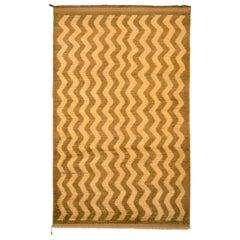 1950s Vintage Midcentury Tulu Rug Beige Brown Chevron Striped Pattern