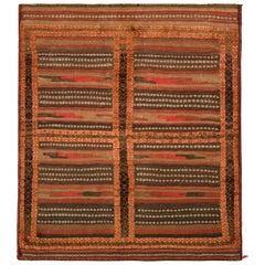 1950s Vintage Midcentury Kilim Orange Brown Geometric Pattern