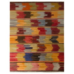 1950s Vintage Midcentury Kilim Rug Green Red Multi-Color All-Over Pattern