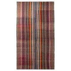 1950s Vintage Midcentury Kilim Wool Purple Beige Brown Striped Rug