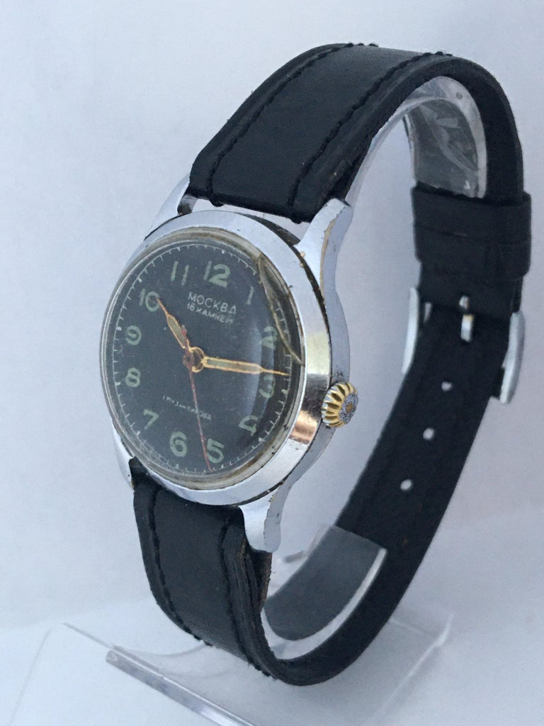1950s Vintage Mockba Mechanical Watch In Fair Condition For Sale In London, GB