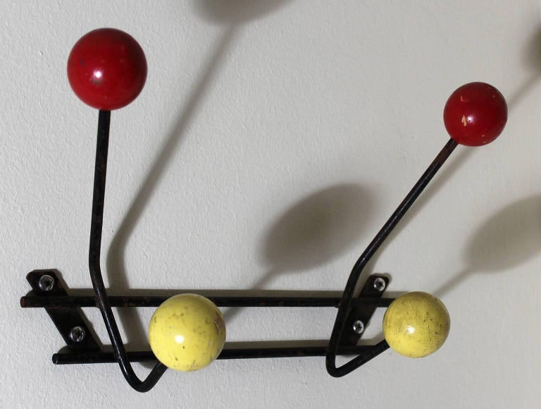 Mid-Century Modern 1950s Vintage Modernist Wall Mounted Coat Rack For Sale