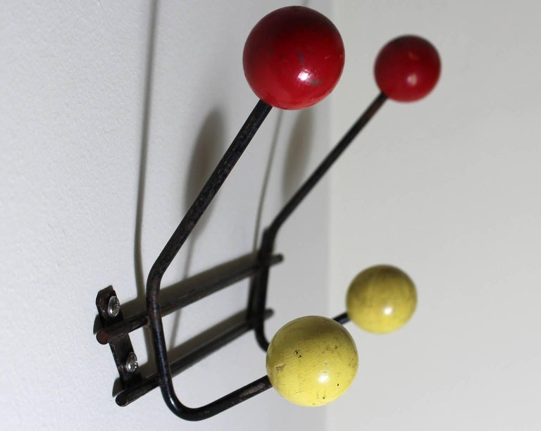 Unknown 1950s Vintage Modernist Wall Mounted Coat Rack For Sale