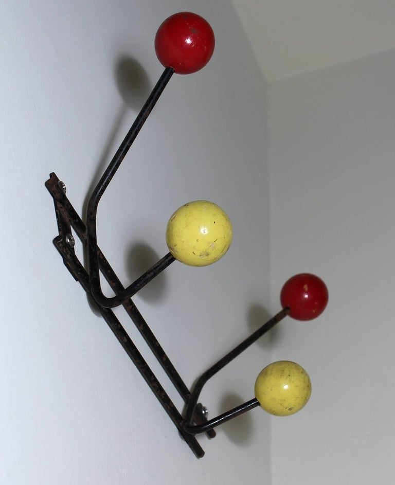 1950s Vintage Modernist Wall Mounted Coat Rack In Excellent Condition For Sale In San Diego, CA