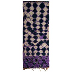 1950s Vintage Moroccan Runner Purple Midcentury Tribal Rug All Over Pattern
