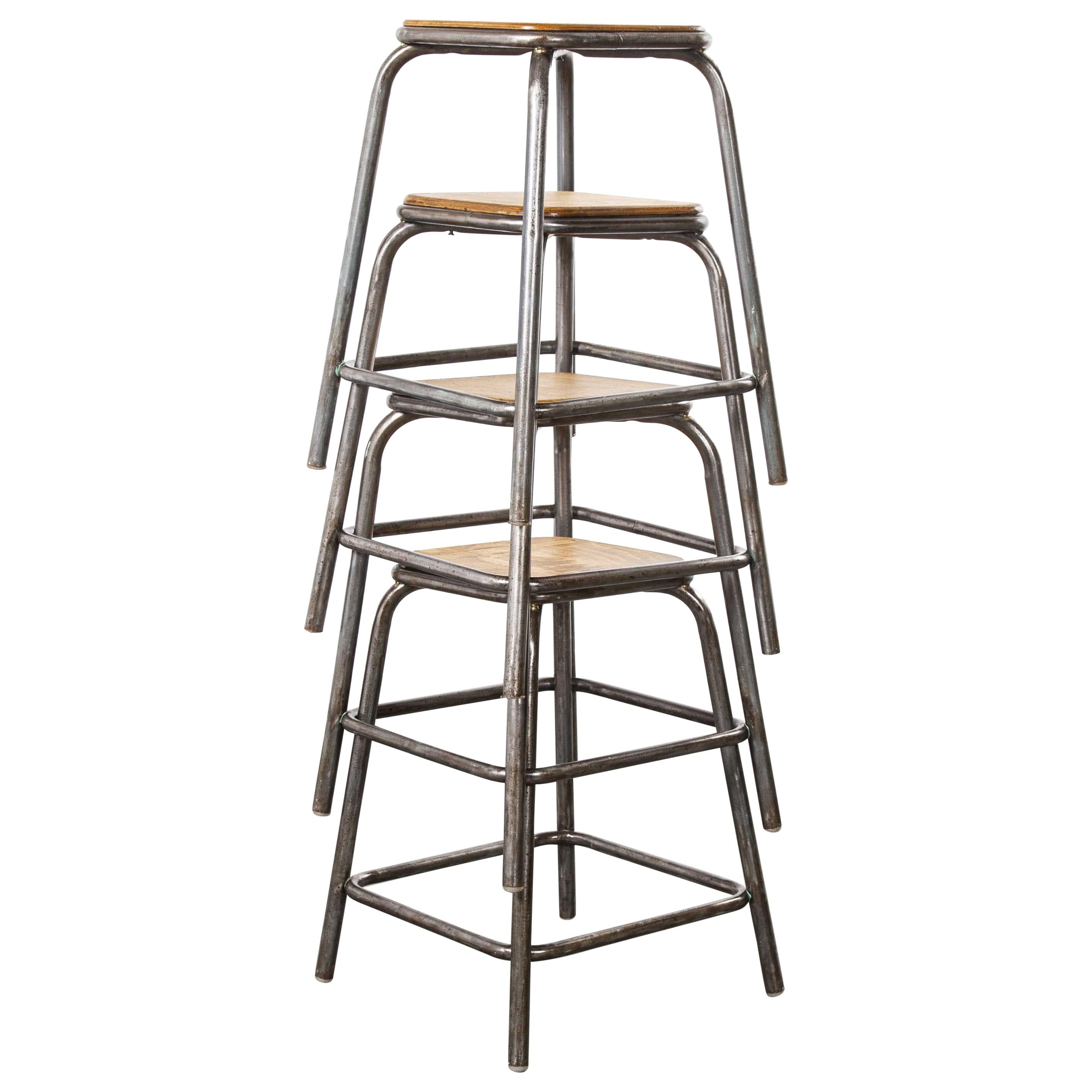 1950s Vintage Mullca Industrial French Stacking High Stools, Set of Four