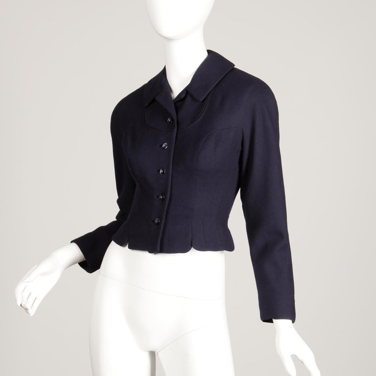 Black 1950s Vintage Navy Blue Wool Blazer Jacket Size XS For Sale