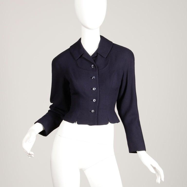 Women's 1950s Vintage Navy Blue Wool Blazer Jacket Size XS For Sale