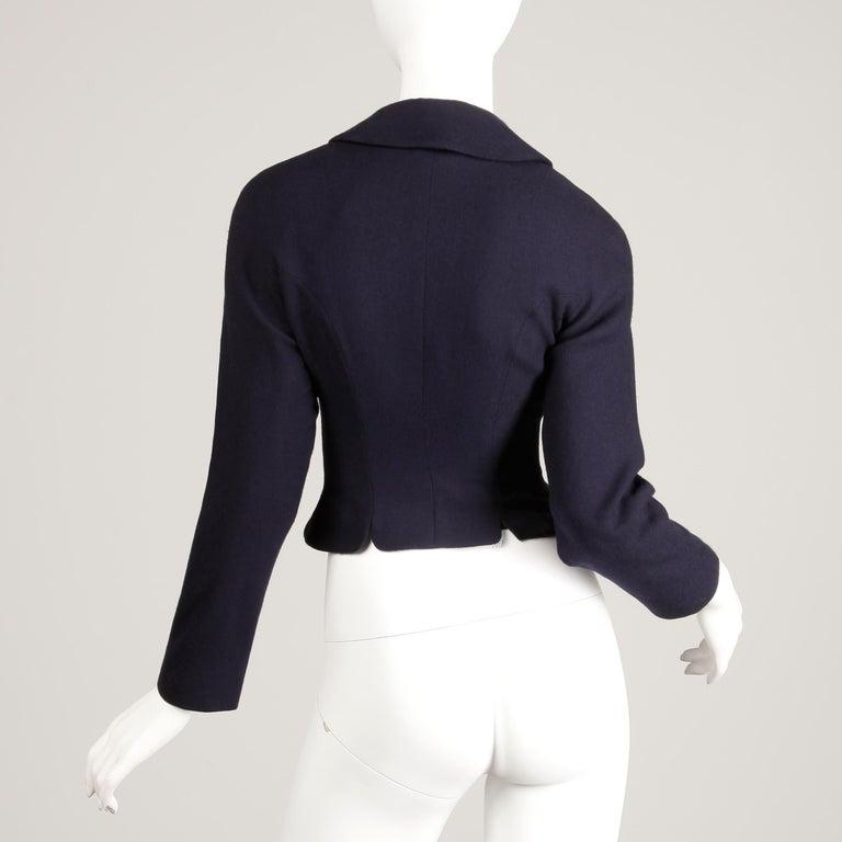 1950s Vintage Navy Blue Wool Blazer Jacket Size XS For Sale 2