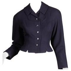 1950s Vintage Navy Blue Wool Blazer Jacket Size XS