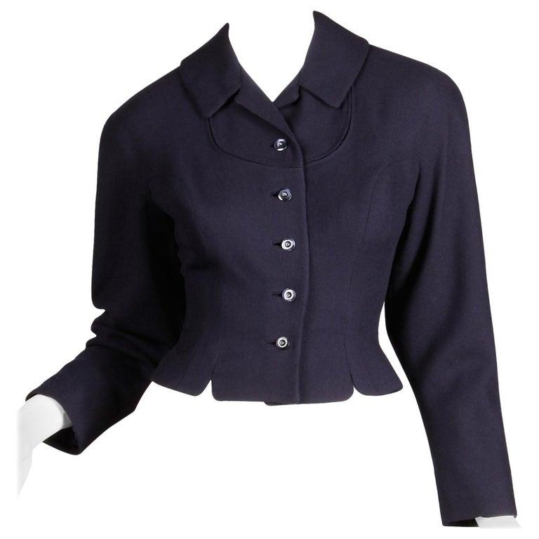 1950s Vintage Navy Blue Wool Blazer Jacket Size XS For Sale