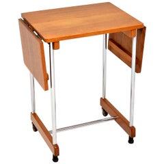 1950s Vintage Oak and Chrome Drop-Leaf Side Table