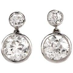 1950s Vintage Old European Diamond Platinum Drop Stud Earrings