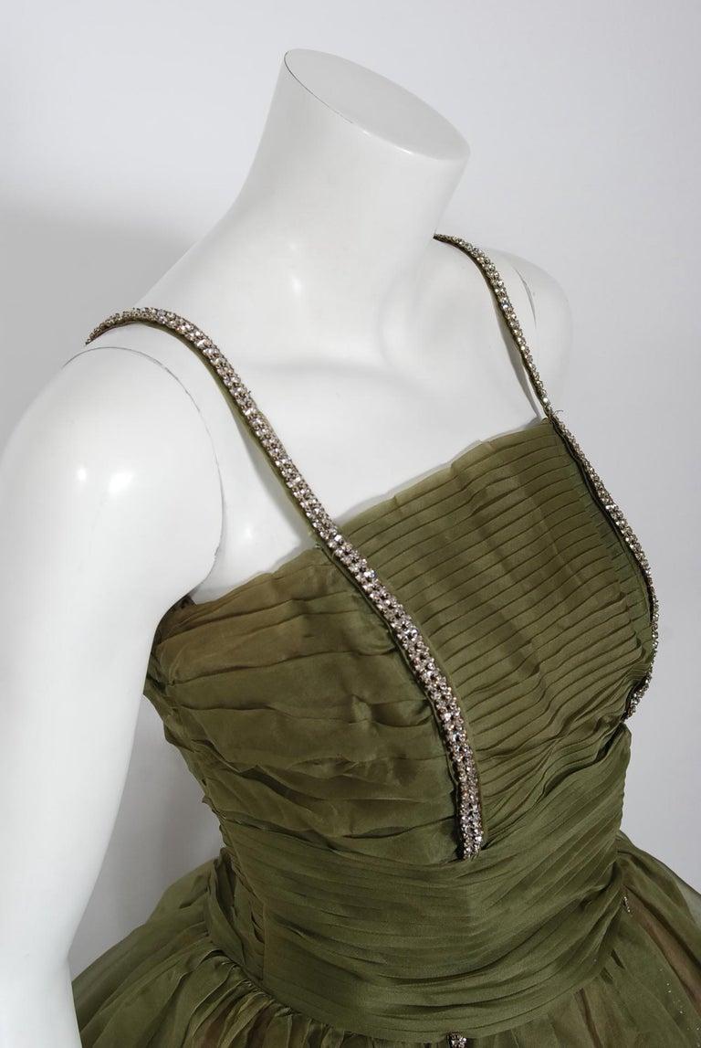 Brown 1950's Vintage Olive Green Pleated Silk Organza Rhinestone Full-Skirt Dress  For Sale