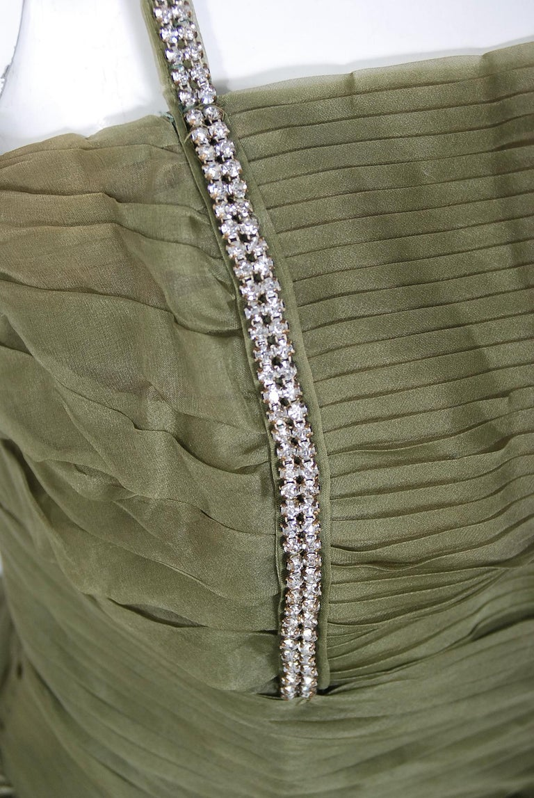 1950's Vintage Olive Green Pleated Silk Organza Rhinestone Full-Skirt Dress  In Good Condition For Sale In Beverly Hills, CA