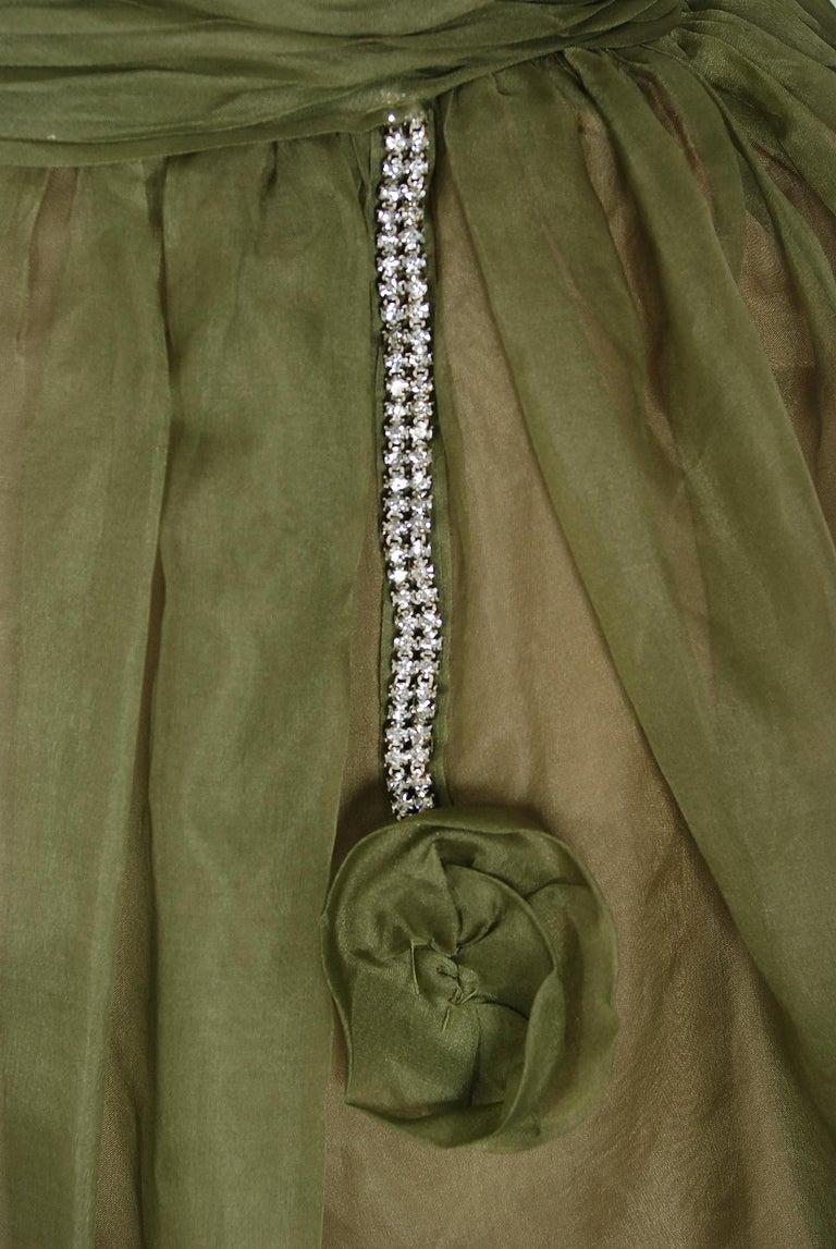 Women's 1950's Vintage Olive Green Pleated Silk Organza Rhinestone Full-Skirt Dress  For Sale