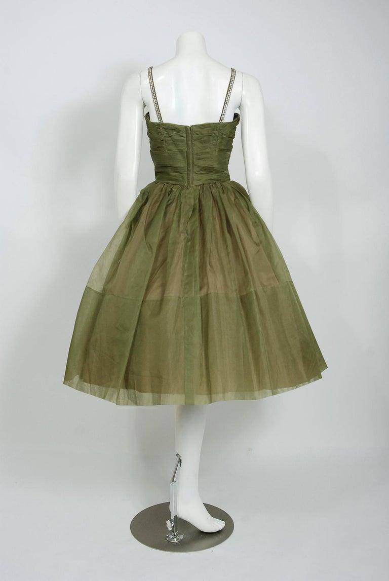 1950's Vintage Olive Green Pleated Silk Organza Rhinestone Full-Skirt Dress  For Sale 1