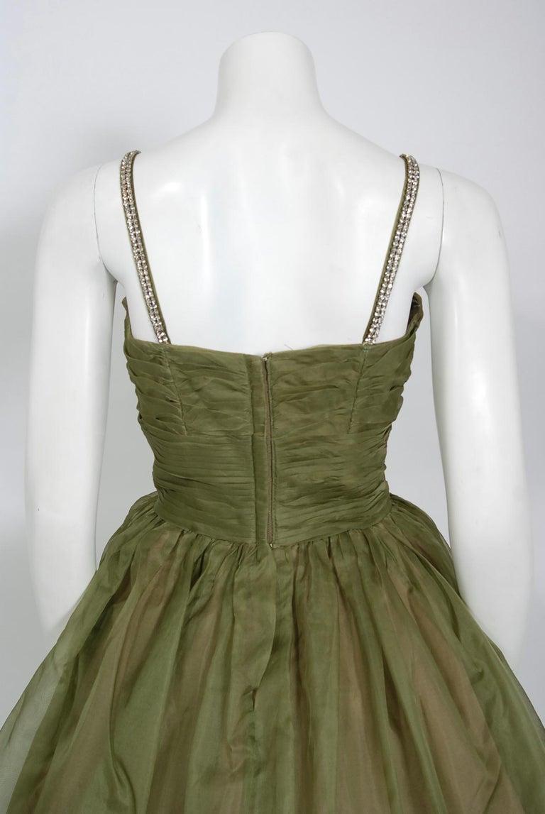 1950's Vintage Olive Green Pleated Silk Organza Rhinestone Full-Skirt Dress  For Sale 2