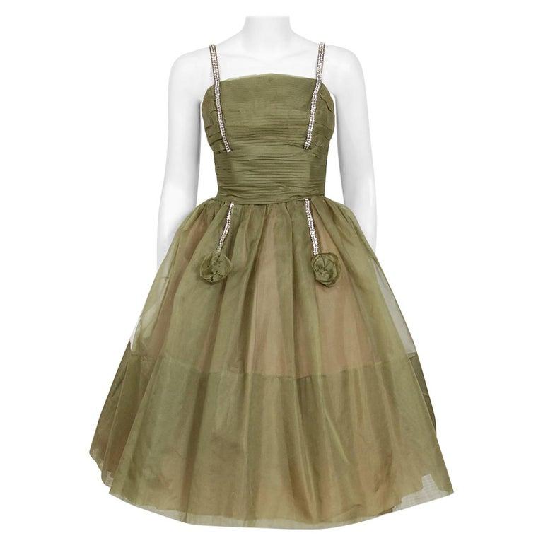 1950's Vintage Olive Green Pleated Silk Organza Rhinestone Full-Skirt Dress  For Sale