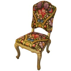 1950s Vintage Painted Venetian Side Chair in Clarence House Italian Linen