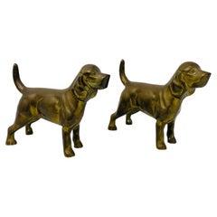 1950s Vintage Pair of Bronze Labrador Retriever Sculpture Bookends