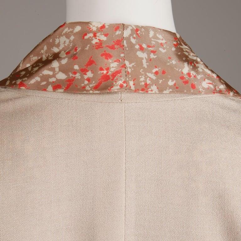 1950s Vintage Pink, Mauve + Beige 3-Piece Matching Dress/ Coat/ Belt Ensemble For Sale 8