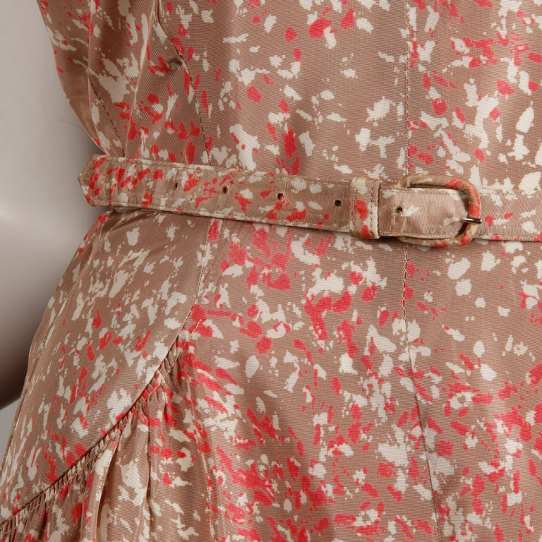 1950s Vintage Pink, Mauve + Beige 3-Piece Matching Dress/ Coat/ Belt Ensemble In Excellent Condition For Sale In Sparks, NV