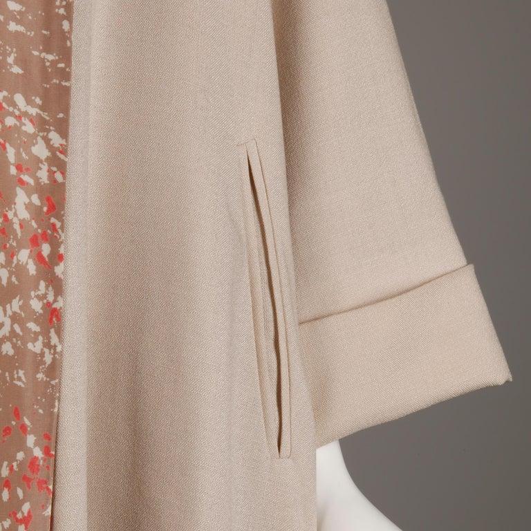 1950s Vintage Pink, Mauve + Beige 3-Piece Matching Dress/ Coat/ Belt Ensemble For Sale 1