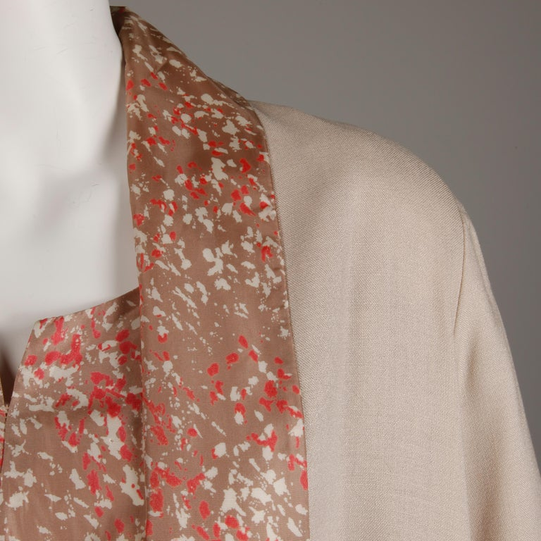 1950s Vintage Pink, Mauve + Beige 3-Piece Matching Dress/ Coat/ Belt Ensemble For Sale 3