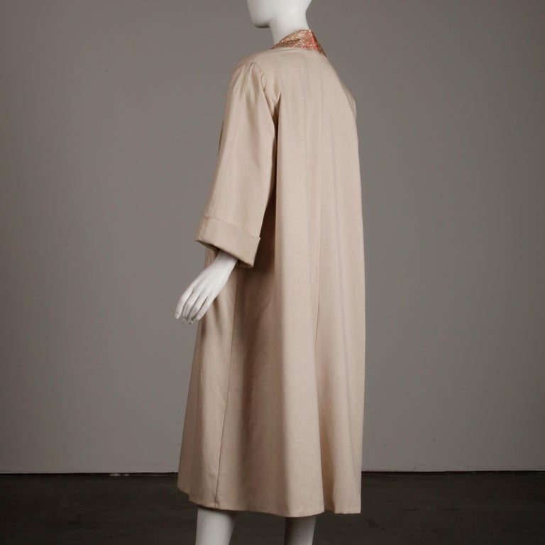 1950s Vintage Pink, Mauve + Beige 3-Piece Matching Dress/ Coat/ Belt Ensemble For Sale 5